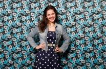 Blauwe jurk met spijkerjasje